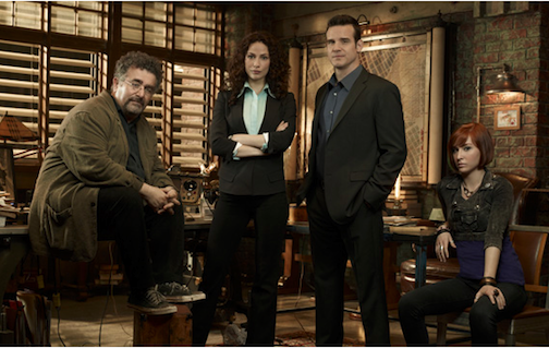 Pictured is the cast of `Warehouse 13`: Artie Nielsen (Saul Rubinek), Myka Bering (Joanne Kelly), Pete Lattimer (Eddie McClintock) and Claudia Donovan (Allison Scagliotti). (Syfy photo ©2012 NBCUniversal Inc.)