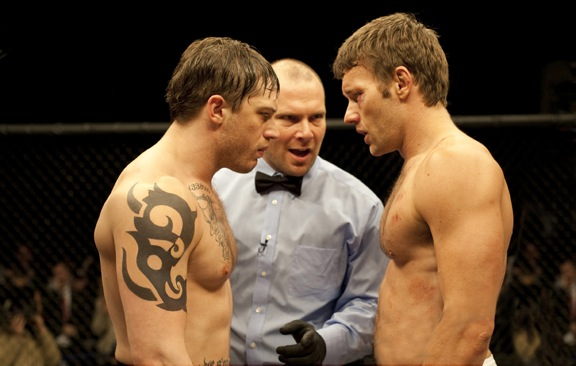Tommy (Tom Hardy, left) and Brendan (Joel Edgerton, right) in `Warrior.` (Photo credit: Chuck Zlotnick/Lionsgate Films)