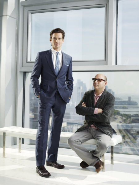 Matt Bomer (Neal Caffrey) and Willie Garson (seated, Mozzie) star in `White Collar.` (USA Network photo)