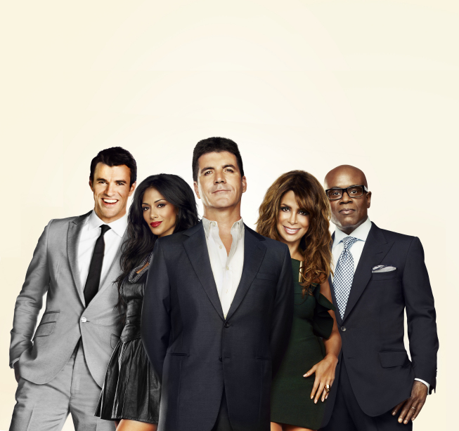 The cast of `The X Factor`: hot Steve Jones and judges Nicole Sherzinger, Simon Cowell, Paula Abdul and L.A. Reid. (FOX photo)