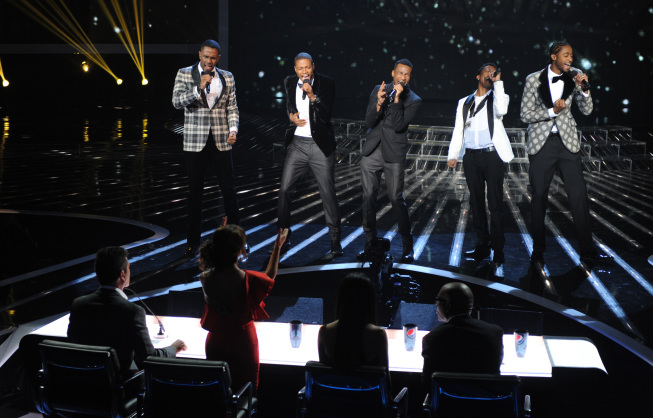 The Stereo Hogzz perform on `The X Factor` on FOX. (photo credit: Ray Mickshaw/FOX.)