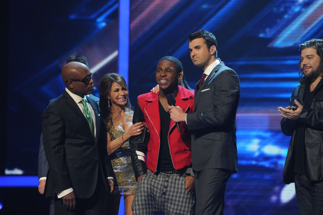 Pictured from `The X Factor`: L.A. Reid, Paula Abdul, eliminated contestant Marcus Canty, host Steve Jones and finalist Josh Krajcik. (photo by Ray Mickshaw/FOX)