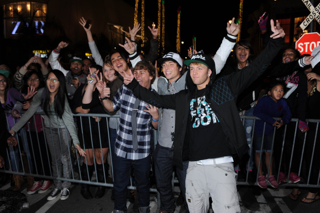 `The X Factor`: Emblem3 arrive at `The X Factor` viewing party sponsored by Sony X Headphones Thursday, Dec. 6, at The Grove in Hollywood. (photo by Ray Mickshaw/FOX).