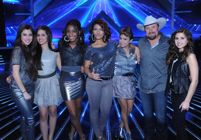 `The X Factor`: Pictured from left, Fifth Harmony, Tate Stevens and Carly Rose Sonenclar advance to the finals on `The X Factor` on FOX. (photo by Ray Mickshaw/FOX)