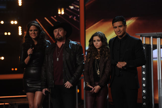 `The X Factor`: `The X Factor` hosts Khloe Kardashian Odom and Mario Lopez and finalists Tate Stevens and Carly Rose Sonenclar during `The X Factor` finale on FOX. (photo by Ray Mickshaw/FOX)