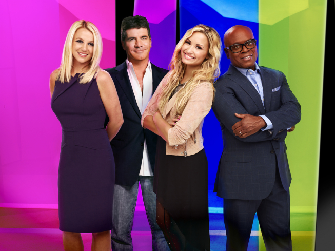 `The X Factor`: Pictured from left are Britney Spears, Simon Cowell, Demi Lovato and L.A. Reid. (photo by Nino Munoz/FOX)