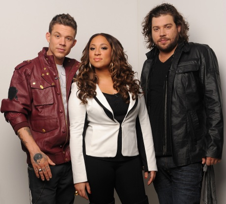 The final three `X Factor` contestants: Chris Rene, Melanie Amaro and Josh Krajcik. (photo by Ray Mickshaw/FOX)