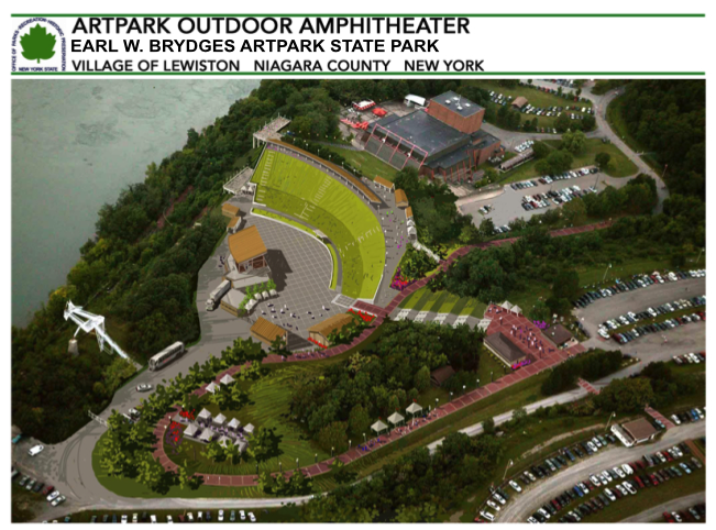 A composite drawing of the proposed changes to the Artpark Outdoor Amphitheater. (Rendering by Wendel Duchscherer Architects and Engineers)