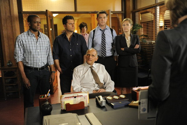 Pictured from the `Psych` episode `Guillermo Del Toro Presents Autopsy Turvy` are, from left: Dulé Hill as Gus Guster, James Roday as Shawn Spencer, Kurt Fuller as Woody, Timothy Omundson as Lassiter, and Maggie Lawson as Juliet. (photo by Alan Zenuk/USA Network)