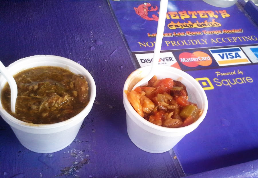 Chester's Cajun provided $2 samples of the south: Chicken and Andouille Sausage (left) and Seafood Jambalaya (right).