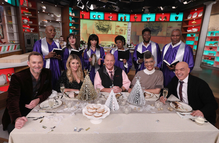 `The Chew`: Holidays got you stressed? Sit back, relax, and enjoy a show filled with sumptuous recipes, quick and easy crafts and the Emmy Award-winning crew from `The Chew` - from left, Clinton Kelly, Daphne Oz, Mario Batali, Carla Hall and Michael Symon - who appear as `The Ghosts of Holiday Help` to solve your entertaining woes. The special, `The Chew Saves the Holidays` airs this month on the ABC Television Network. (ABC photo by Heidi Gutman)