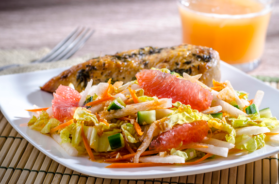 Florida grapefruit and jicama Vietnamese salad (StatePoint photo courtesy of the Florida Department of Citrus)