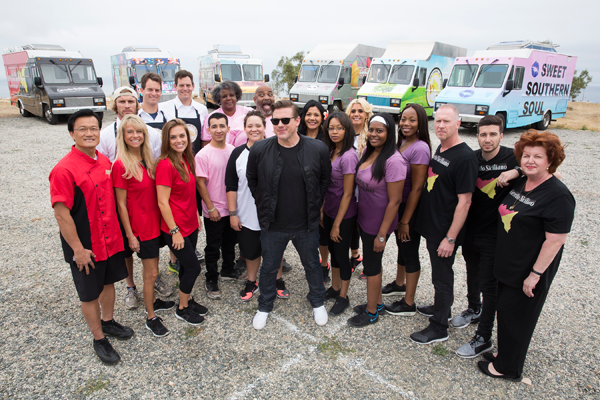 Host Tyler Florence with the teams of Food Network's `The Great Food Truck Race: Family Face-Off.` (Food Network photo)