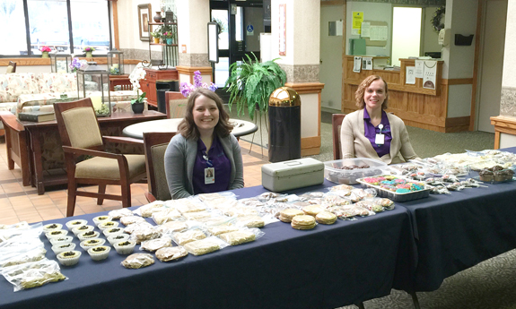 Niagara Hospice `Hospicetality` advocates Lisa Kurilovitch and Kristin Human sell baked goods to raise funds for the gardens at Hospice at Jeanne's House.