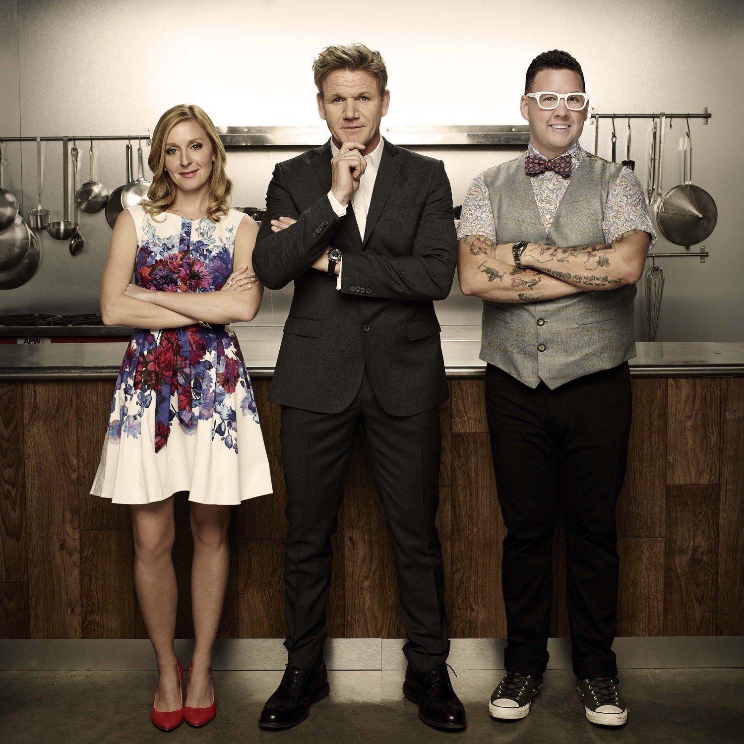 `MasterChef`: Host and award-winning chef Gordon Ramsay (center), acclaimed chef Graham Elliot and Christina Tosi, renowned pastry chef, owner and founder of New York City's Milk Bar, star in FOX's top-rated reality cooking series. (FOX photo)