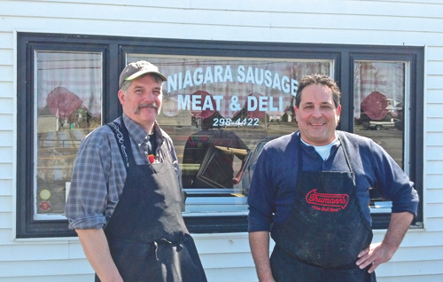 Norm Schneider and Bryan Lozinsky are partners in Niagara Sausage Meat & Deli on Lockport Road in the Town of Niagara.