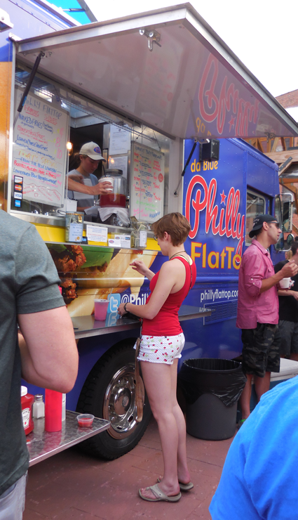 A look at the front of the line of Philly Flattop food truck.