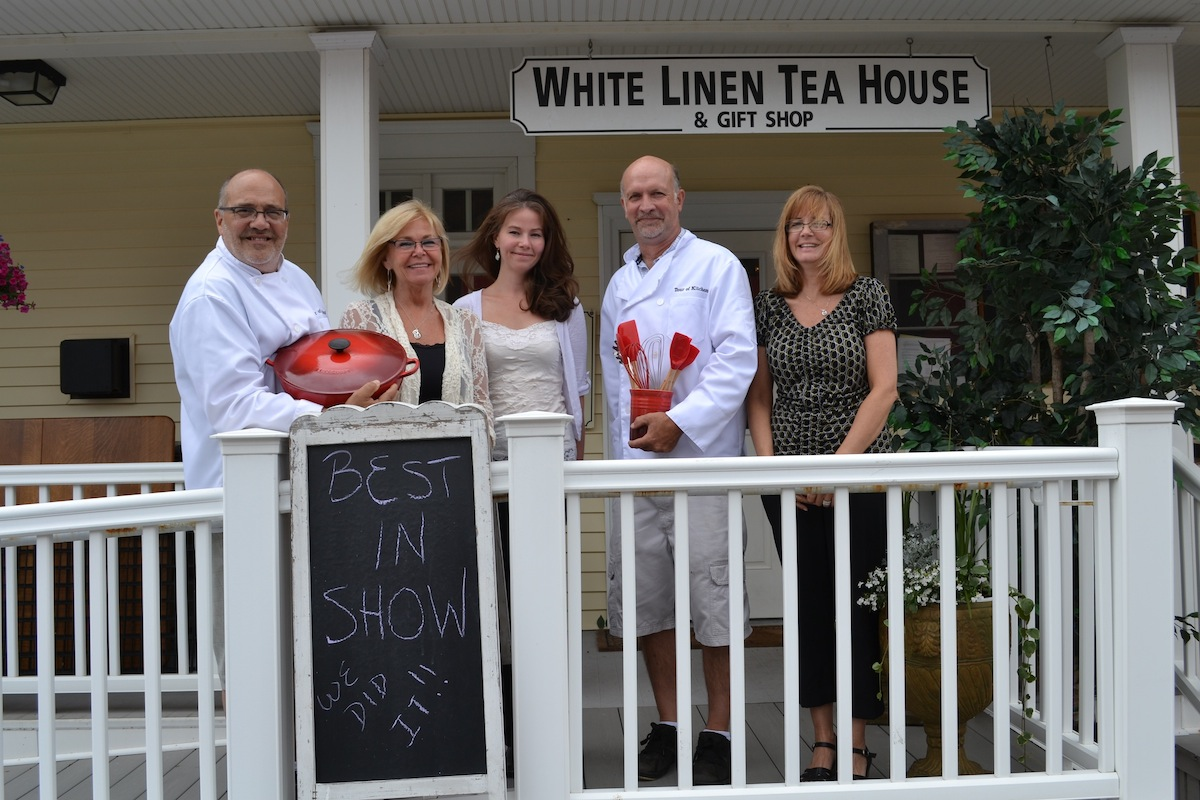 Best Culinary Sample: Pictured, from left, is Dennis DeGesere, Tina Battey (owner of presenting sponsor Kinetic Kitchen), Tracy Bauch (The White Line Tea House manager), Randy Kroning and Linda Kloch (The White Line Tea House owner).