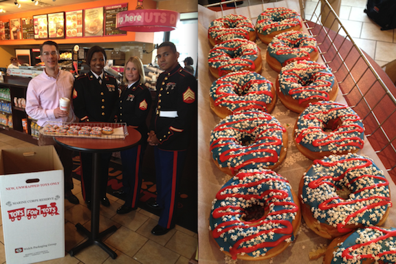 Dunkin' Donuts franchisee Doug Spolyar (far left) is joined by members of the U.S. Marine Corps Reserve to announce a new partnership between Dunkin' Donuts in Western New York and the Toys for Tots Foundation for the holiday collection drive. They are pictured at the Dunkin' Donuts restaurant at 2340 Delaware Ave., Buffalo, on Thursday, Nov. 1. Pictured from left are Spolyar, Toys for Tots coordinator Sgt. Keshia L. Toro, Sgt. Devon McNeil and Sgt. Jesse Quimi. Toys for Tots doughnut: The specialty patriotic-themed donuts (pictured) will be available at participating Dunkin' Donuts restaurants in Erie, Niagara and Chautauqua counties through Nov. 25.