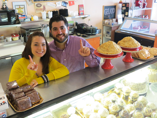 Lindsay and Mike Fiore at the Village Bake Shoppe.
