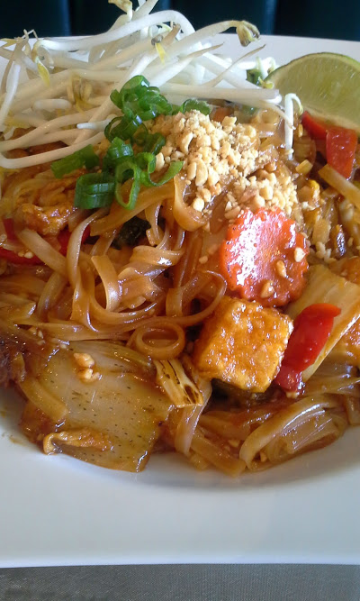 The pad Thai entrée with the tofu and vegetable option ($9.99).