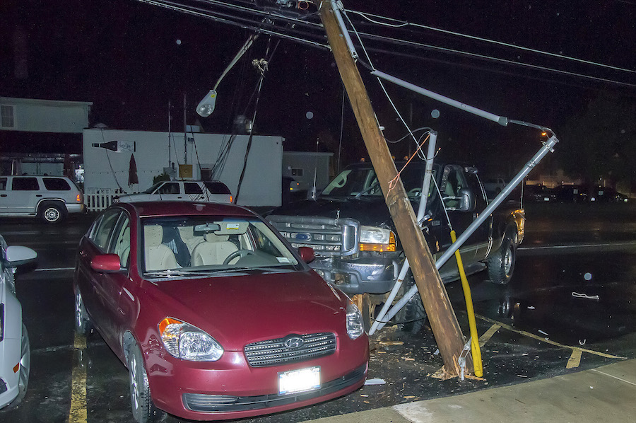 A ford pickup truck went off the road and broke off a power pole with a transformer on it, taking out power to the restaurant and bar.