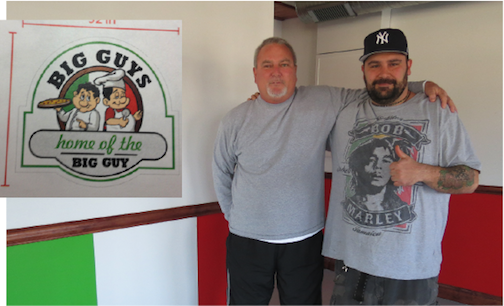 Tony Vescio and Michael Clark stand inside Big Guys Pizzeria and More. They are currently renovating the space and plan to open in May. Shown inset is an early look at the restaurant's logo.