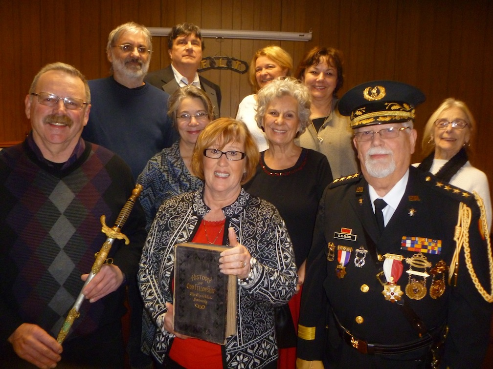 Pictured from left (front row) are James and Jayne Brasser and Gen. Clement H. Olson (general commanding retired). Second row: Kathleen Godwin, Sonja Jonsson and Marilynn Herowski. Back row: John Pacovsky, Dale Campbell (noble grand), Kathryn Serianni and Irene Rykaszewski.