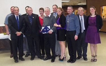 Pictured above, from left, first row: Congressman Chris Collins, Jeremy Booth, Jim Booth, Jeanine Scipione (daughter of Jim and Cathy), Dave Scipione (son in law), State Sen. George Maziarz and Sonia Booth (Jeremy's wife); second row: Lewiston No. 2 President Rodney Michalak, Joe Passanese, Cathy Booth and Assemblyman John Ceretto.
