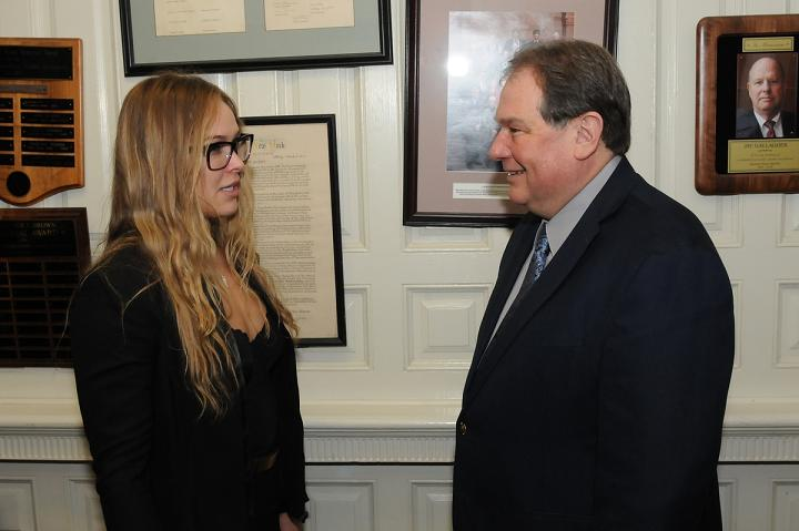 Assemblyman John Ceretto meets with Ronda Rousey, the UFC women's bantamweight champion, at the State Capitol in Albany.