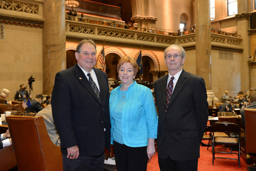 Assemblyman John Ceretto, left, stands with Village of Lewiston Clerk/Treasurer Anne Welch and her husband, Bob Welch.