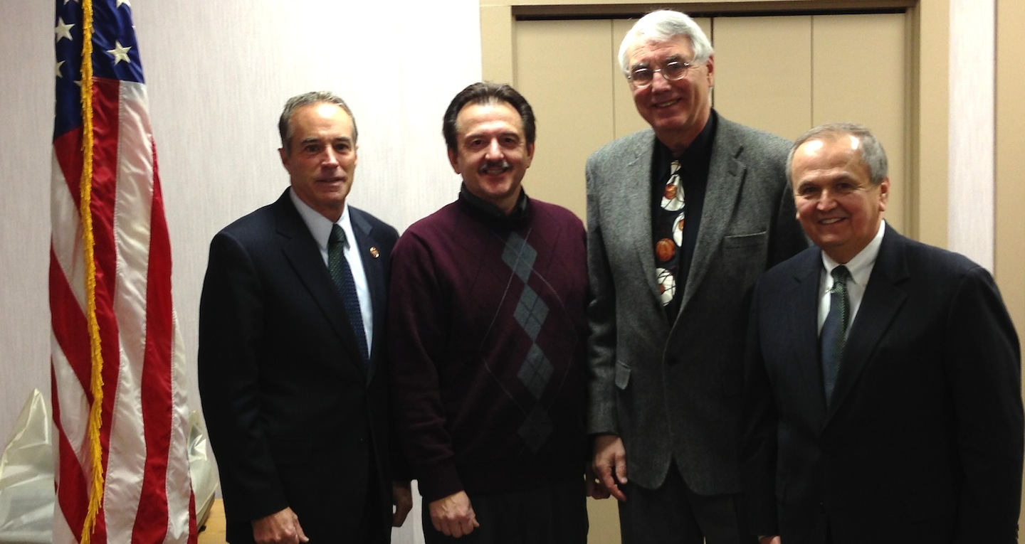 Pictured from left, Congressman Chris Collins stands with Delphi retirees John Benoit and Rick Strusienski, and New York State Sen. George Maziarz.