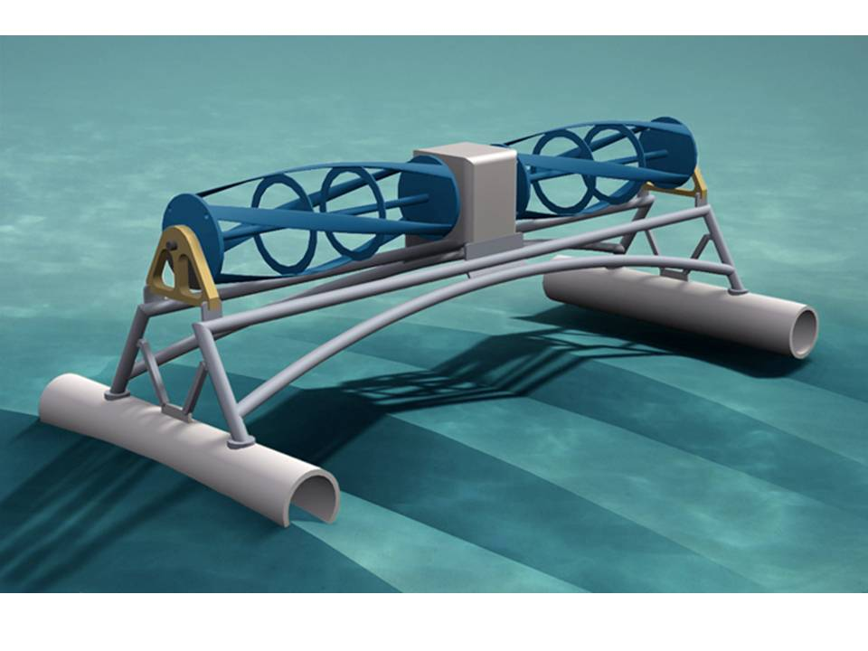 Pictured is an artist's rendering of the turbine generating unit ECOsponsible is evaluating for use in the lower Niagara River.