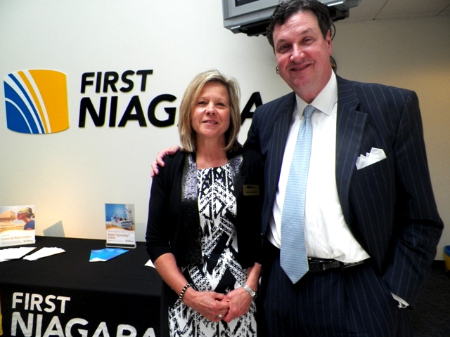 First Niagara Senior Vice President of Retail Markets Management Scott Fisher is shown with Relationship Banker Gloria Sedore. Gloria is very active with First Niagara's employee volunteer opportunities.