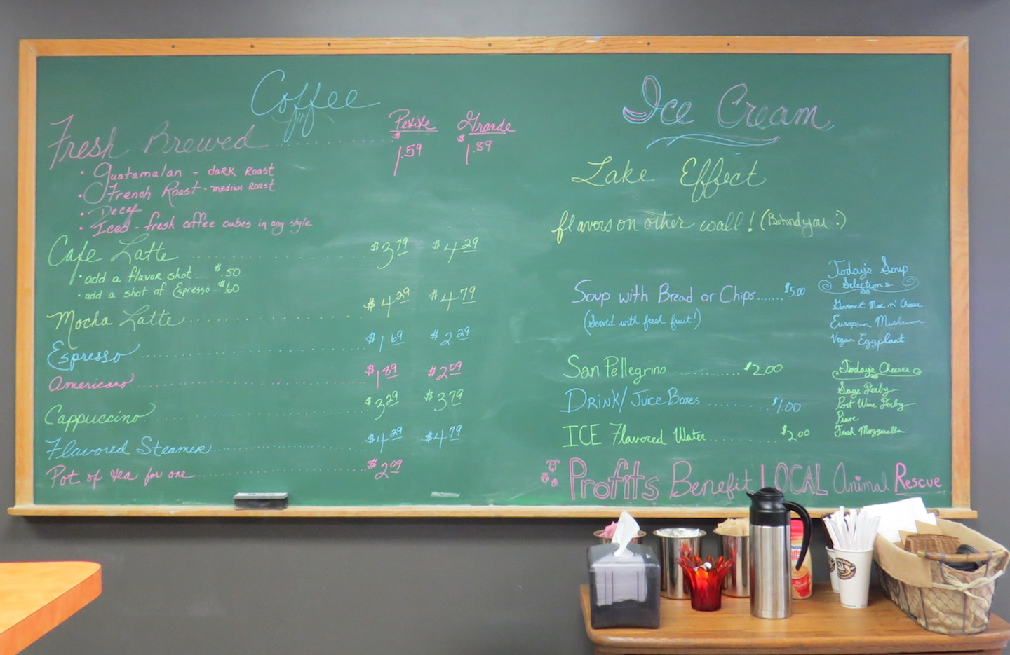The Grandpaws Café for Good big board of menu items.
