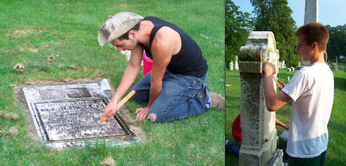 Boatswain's mate Nate Burgin (standing) and Sea Scout Lucas Bell (kneeling) were part of Sea Scout Ship 1812's community service activities in the Lewiston cemetery.