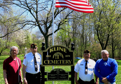 Historian Robert Martinez, VFW 7487 Cmdr. Laurence Stephens, Senior Vice Comdr. Harry Raby and Supervisor Steven Reiter at Kline Road Cemetery.