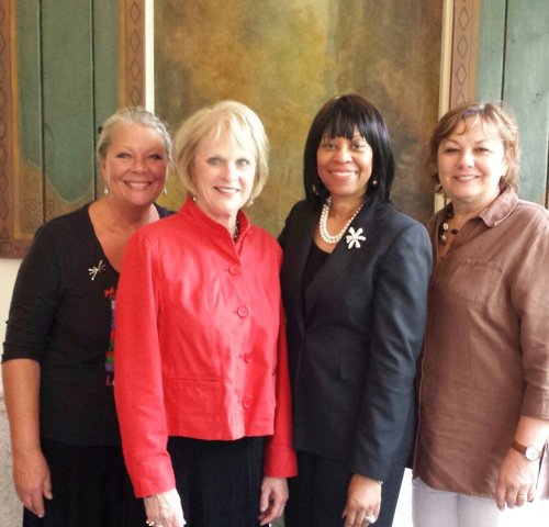 From left: Eva Nicklas, artistic director, Lewiston Council on the Arts; Fay Northrop, Chalkwalk chairperson; Marie Hare, KeyBank vice president of philanthropy and civic affairs; and Irene Rykaszewski, LCA executive director.