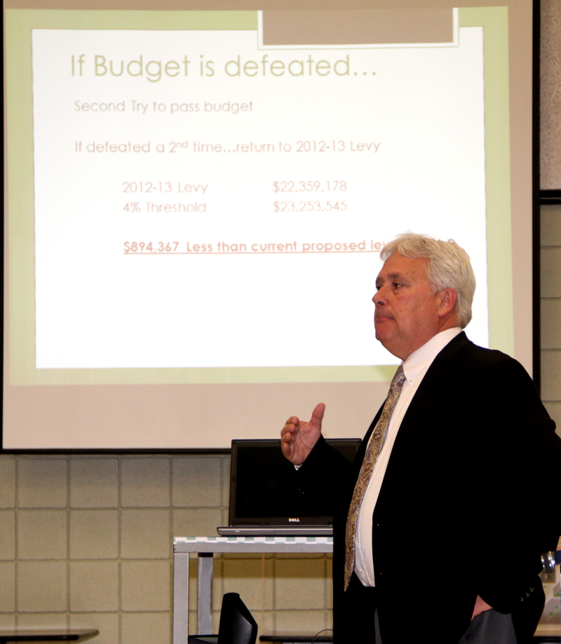Superintendent Christopher Roser presents the proposed 2013-14 school budget of $39,159,743 to the Board of Education.