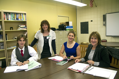The Academy of International Business and Finance at Lewiston-Porter High School. From left, student Seamus McGillion, director Nicole Alonzo, student Hannah Cupples and President Janet Schiff-DiFiore.