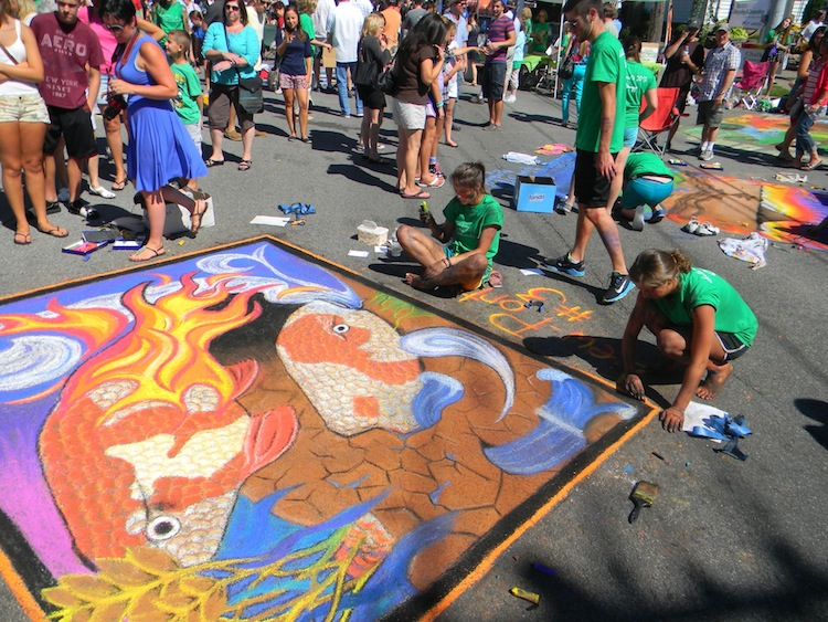 Lewiston-Porter students hard at work at last year's Chalk Walk.