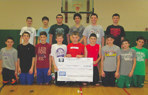 The Lew-Port modified basketball team was proud to present a donation of $1,230 to benefit Niagara Hospice. Shown from left, front row, are Theo Noah, Dylan Zutel, Nick Christman, Liam Brennen, Dawson Bailey, Stephen Mansour, Nate Waterstram, Jeremy Saunders and Gabe Colangelo. In the back row, from left, are Brian Muller, Evan Wyno, Kyle Ullery, Dylan Morrissette, Stephen Dillon and Dylan Milbrand.