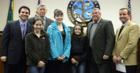 Members of the Lewiston Town Board recognized winners of the recent Lewiston Lions Peace Poster contest at the board's Monday session. Not shown is Councilman Ernie Palmer. (photo by Terry Duffy)