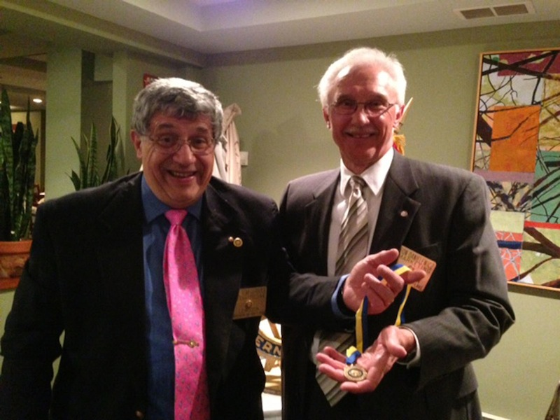 Lewiston/Niagara-on-the-Lake Rotary Club Secretary Dr. Thomas Gerbasi, left, presented the prestigious Paul Harris Service Award to Club Service Director Ronald Danielewicz of Youngstown. The award is named in honor of the founder of Rotary International and is presented to individuals for outstanding service to their club and community.