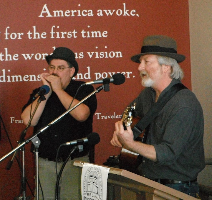 Musicians Tim Goodrich and Tom Prohn are shown performing at last year's Erie Canal Song Contest