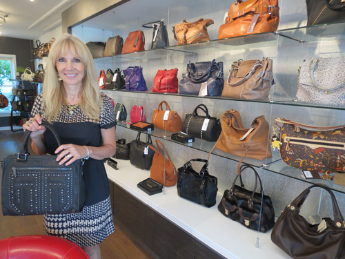 Owner Barbara Crouthamel stands inside her new Lewiston store, Lovin My Bags by Barbara.