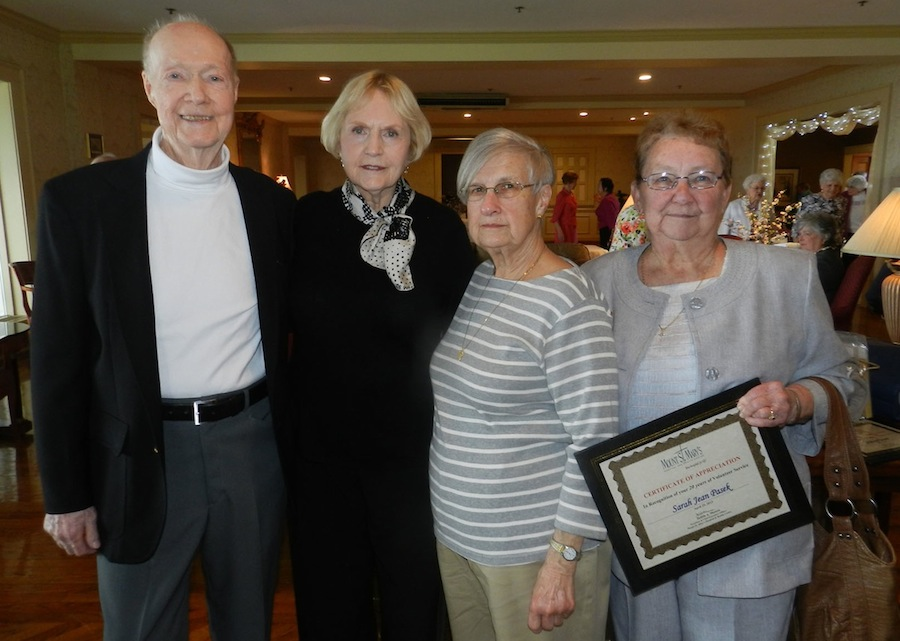 Pictured, from left, are Edmund Page of Lewiston, Marilyn Keenan of Lewiston and Dolores Borowski of Niagara Falls, who each dedicated 1,000 hours or service; and Sarah Jean Pasek of Niagara Falls, who was one of those recognized for 20 years of service.