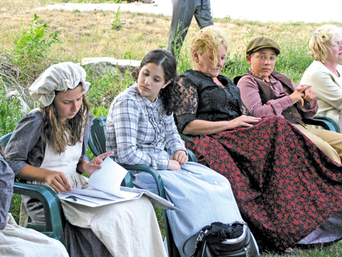Pictured are some of the Marble Orchard Players at rehearsal last year in the cemetery.