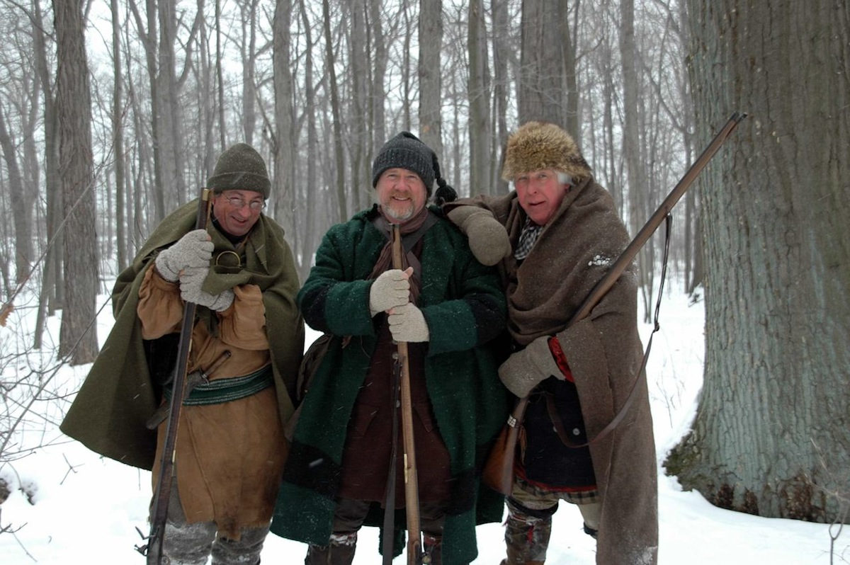 Pictured are Barry Sagar, Geoff Harding and Tom Faith portraying British rangers.
