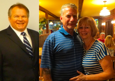 Ernie Palmer, shown left in a file photo, and Dennis Brochey, right, shown with his wife, Cathy, following Tuesday's primary election, will square off in November.